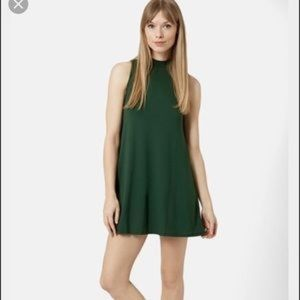 Topshop Moss Green Mock Neck Dress